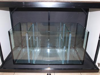 Custom maine sump tank built by Aquarius4Life glass sump in steel framed cabinet.