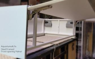 Custom Aquairum Hood. Front opening for easy access. White powder coating anti-corrosion peninsular aquarium