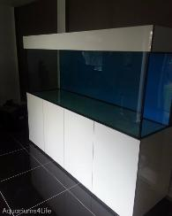 man cave aquairum designed tank by Aquariums4Life gloss cabinet blue background 30